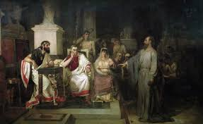 Paul, the Apostle, preaches on Christianity in the presence of King Agrippa, his sister Bernice, and Governor Festus 1875 painting by Vasily Surikov