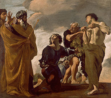 Moses and the Messengers from Canaan, painting by Giovanni Lanfranco - 1621