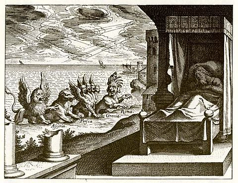 Engraving of Daniel's vision of the four beasts in chapter 7 by Matthäus Merian, 1630