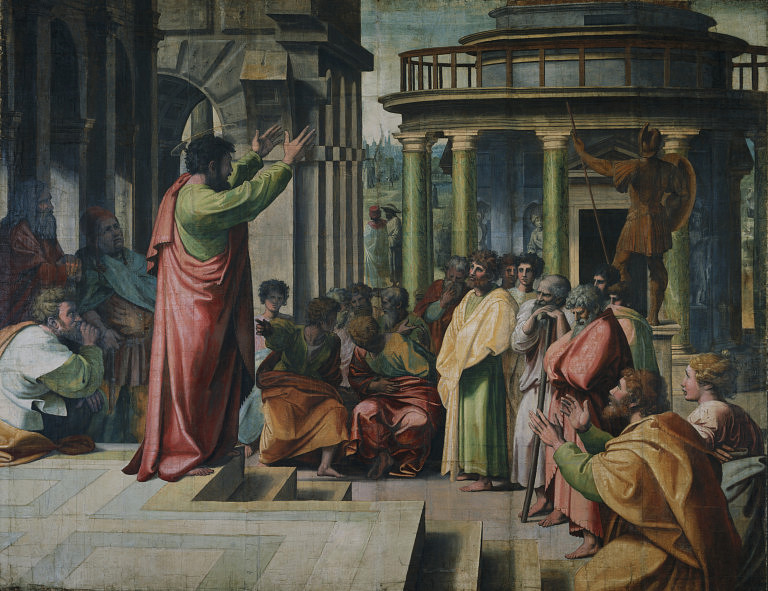 Saint Paul delivering the Areopagus sermon in Athens, by Raphael, 1515
