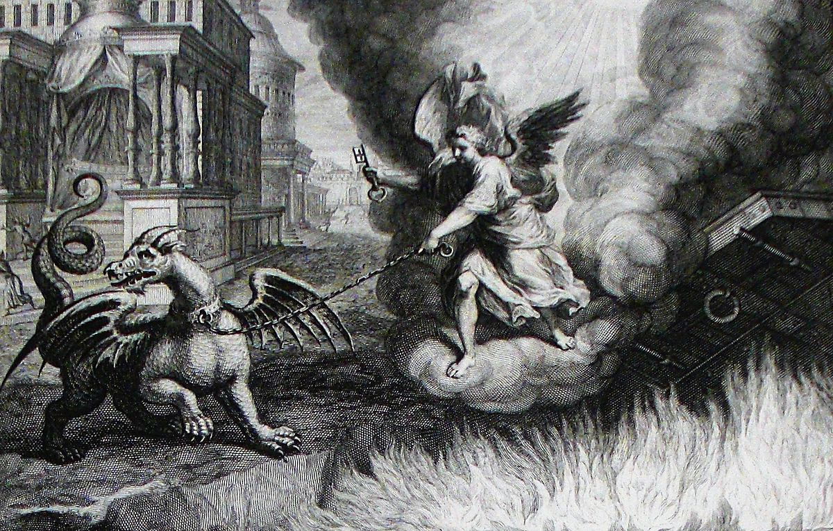 Apocalypse 29. Satan bound for 1000 years. Revelation cap 20 v 1. Mortier's Bible. Phillip Medhurst Collection – 1700