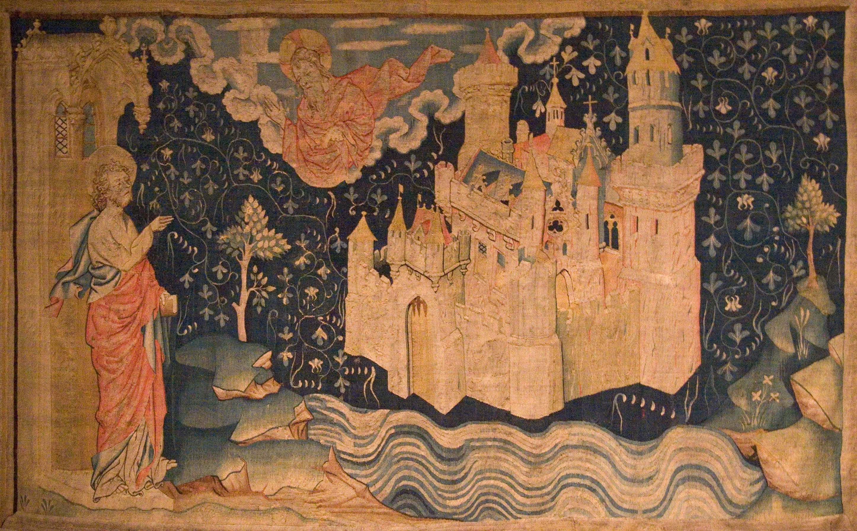 John of Patmos watches the descent of the New Jerusalem from God in a 14th-century tapestry.