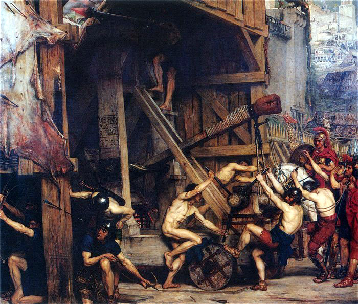 Catapulta, by Edward Poynter (1868). Siege engines such as this were employed by the Roman army during the siege.