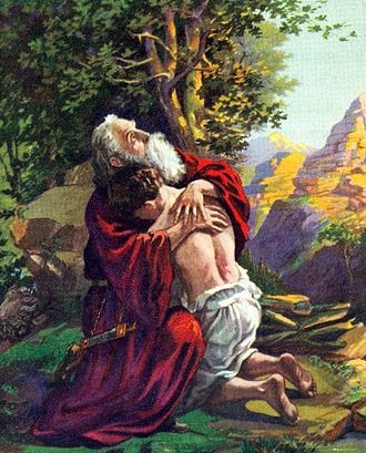 Isaac embraces his father Abraham after the Binding of Isaac, early 1900s Bible illustration